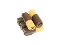 Bolachas com o chocolate, isolado em um branco Fotografia de Stock