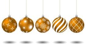 Bolas alaranjadas do Natal com testes padrões diferentes Fotos de Stock Royalty Free