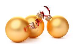 Bolas amarillas de la Navidad Foto de archivo