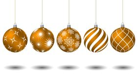 Bolas anaranjadas de la Navidad con diversos modelos Fotos de archivo libres de regalías
