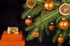 Bolas anaranjadas de la Navidad en un árbol Fotografía de archivo libre de regalías