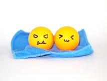 Bolas anaranjadas enojadas y felices Fotografía de archivo libre de regalías