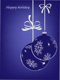 Bolas azuis, cartão de Natal feliz Imagem de Stock Royalty Free