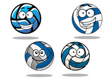 Bolas azuis e brancas de Cartooned do voleibol Foto de Stock