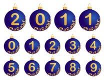 Bolas azules de la Navidad con números 0-9 Fotografía de archivo libre de regalías