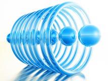 Bolas azules dentro de los anillos en los fondos blancos Fotos de archivo libres de regalías