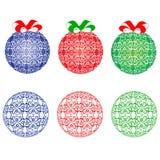 Bolas azules, rojas y verdes de la Navidad Imagen de archivo