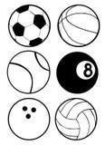 Bolas blancos y negros de los deportes Imagen de archivo