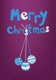 'Bolas brancas e azuis da inscrição e do Natal três do Feliz Natal, cartão, cartão ilustração royalty free