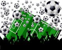 Bolas, campo y ventiladores de fútbol ilustración del vector