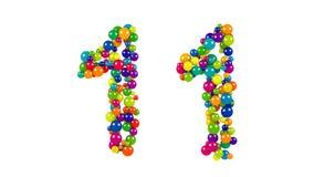 Bolas coloreadas brillantes en la forma del número once Foto de archivo libre de regalías