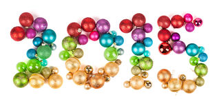 Bolas coloridas 2015 de la Navidad Fotos de archivo libres de regalías