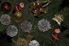 Bolas coloridas de la Navidad que brillan intensamente en el árbol Fotos de archivo libres de regalías