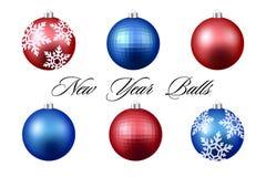 Bolas coloridas de la Navidad Sistema de decoraciones realistas aisladas Ilustración del vector Imagen de archivo libre de regalías