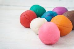 Bolas coloridas del playdough Foto de archivo libre de regalías
