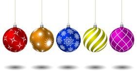 Bolas coloridas do Natal com testes padrões diferentes Foto de Stock