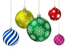 Bolas coloridas do Natal com testes padrões diferentes Fotos de Stock Royalty Free