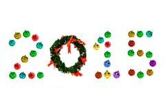 Bolas coloridas do Natal isoladas no branco Fotografia de Stock Royalty Free