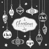 Bolas da árvore do giz Coleção do Natal Imagem de Stock Royalty Free