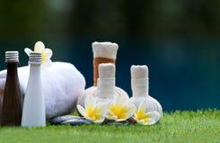 Bolas da compressa da massagem dos termas, bola erval e termas do tratamento Fotos de Stock