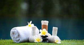 Bolas da compressa da massagem dos termas, bola erval e termas do tratamento, Tailândia Fotografia de Stock