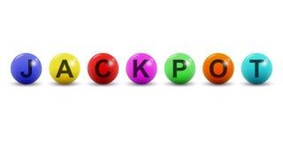 Bolas da loteria do vetor com texto do jackpot Isolado no fundo branco Imagens de Stock Royalty Free