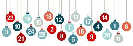 Bolas de Advent Calendar Banner Hanging Christmas vermelhas e azuis ilustração do vetor