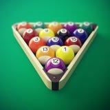 Bolas de bilhar da associação em uma cremalheira de madeira ilustração 3D Fotografia de Stock Royalty Free