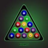 Bolas de bilhar de cores diferentes na tabela Ilustração do vetor Fotos de Stock Royalty Free