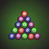 Bolas de bilhar de cores diferentes na tabela Ilustração do vetor Imagens de Stock Royalty Free