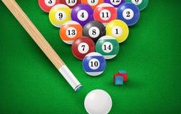 Bolas de bilhar em uma mesa de bilhar Vetor Fotografia de Stock Royalty Free