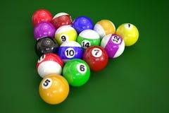 Bolas de bilhar no fundo verde Imagem de Stock Royalty Free