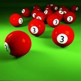 Bolas de bilhar vermelhas número três Imagem de Stock