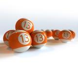 Bolas de billar anaranjadas con el número 13 Fotografía de archivo libre de regalías