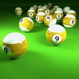 Bolas de billar blancas amarillas número nueve Foto de archivo libre de regalías