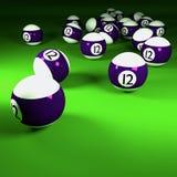 Bolas de billar blancas violetas número doce Imagen de archivo