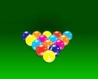 Bolas de billar en el vector verde Foto de archivo libre de regalías
