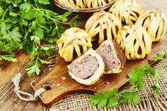 Bolas de carne cozidas na pastelaria Fotos de Stock Royalty Free