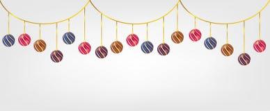 Bolas de Chirstmas de la ejecución aisladas en el fondo blanco Elemento para el diseño del vector de la Navidad y de la Feliz Año fotografía de archivo libre de regalías