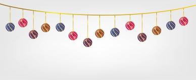 Bolas de Chirstmas de la ejecución aisladas en el fondo blanco Elemento para el diseño del vector de la Navidad y de la Feliz Año fotos de archivo libres de regalías