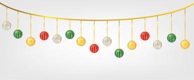 Bolas de Chirstmas de la ejecución aisladas en el fondo blanco Elemento para el diseño del vector de la Navidad y de la Feliz Año fotos de archivo