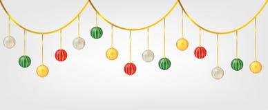 Bolas de Chirstmas de la ejecución aisladas en el fondo blanco Elemento para el diseño del vector de la Navidad y de la Feliz Año foto de archivo