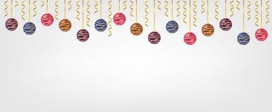 Bolas de Chirstmas de la ejecución aisladas en el fondo blanco Elemento para el diseño del vector de la Navidad y de la Feliz Año imagen de archivo