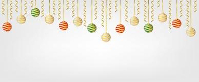 Bolas de Chirstmas de la ejecución aisladas en el fondo blanco Elemento para el diseño del vector de la Navidad y de la Feliz Año foto de archivo libre de regalías