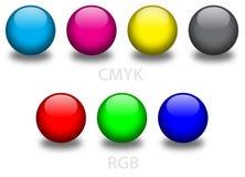 Bolas de cristal de CMYK y del RGB Foto de archivo