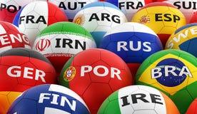 Bolas de futebol coloridas em cores diferentes da bandeira nacional Imagem de Stock Royalty Free