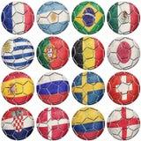 Bolas de futebol do futebol com bandeiras nacionais Campeonato do mundo 2018 ilustração stock