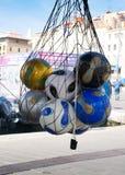 Bolas de futebol no cais em Marselha Imagem de Stock Royalty Free