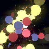 Bolas de incandescência luminosas coloridos no fundo preto rendição 3d ilustração do vetor