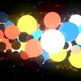 Bolas de incandescência luminosas coloridos no fundo preto rendição 3d foto de stock